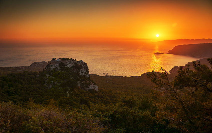 Beauty In Nature Cliff Day Greece Horizon Over Water Landscape Monolithos Monolithos Castle Nature No People Outdoors Rhodes Scenics Sea Sky Sun Sunlight Sunset Tranquility Travel Destinations