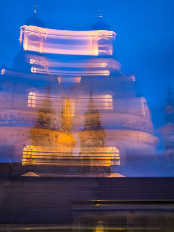 Blue Night in Dresden - blurred motion II Building Exterior Architecture Built Structure Building Sky Low Angle View No People Blue Blue Night Blue Sky Illuminated Motion Night Blurred Motion Frauenkirche