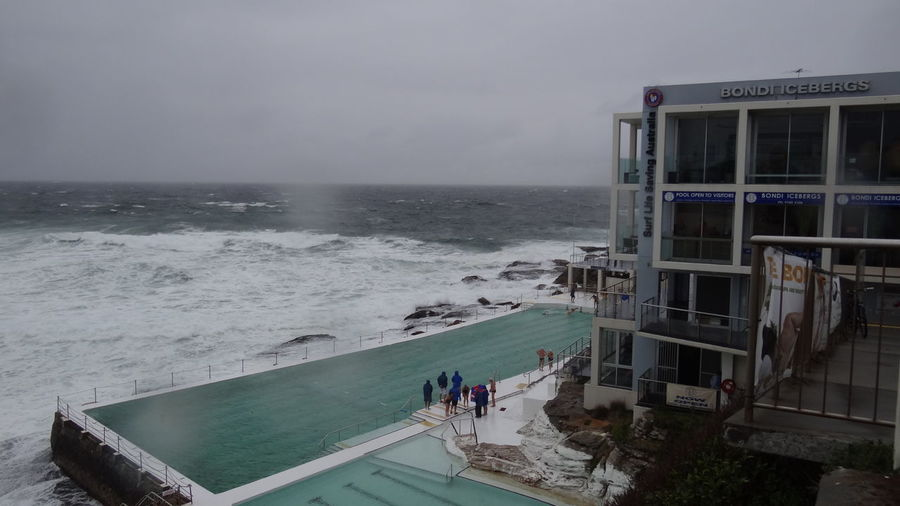 Bondi Icebergs, Bondi Beach, Sydney, Australia Bondi Beach Architecture Beach Bondi Icebergs Building Exterior Built Structure Group Of People High Angle View Horizon Over Water Men Motion Nature Outdoors People Pool Power In Nature Real People Sea Sea And Sky Sky Sport Surfing Water Wave