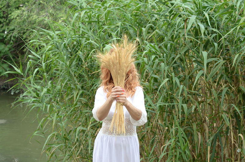 Woman with face covered by cereal plants