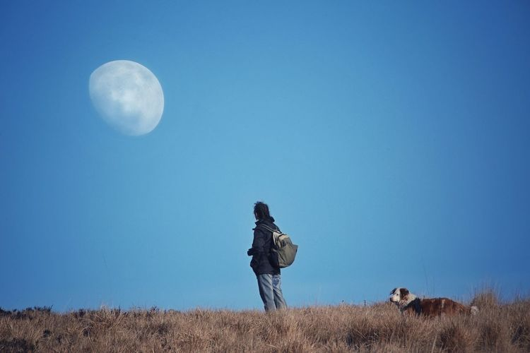 Man looking at moon while standing on field against clear blue sky
