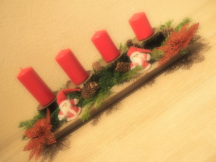 JezzyRabbitPhotography Christmastime Christmas Decoration Indoors  No People Close-up Studio Shot Day Red Candle Adventskranz Fir