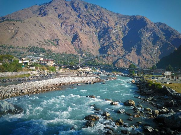 Mountain Water Tranquil Scene Beauty In Nature Non-urban Scene Nature Clear Sky Majestic Blue Mountain Range Scenics Flowing India Beautiful India Manali North India