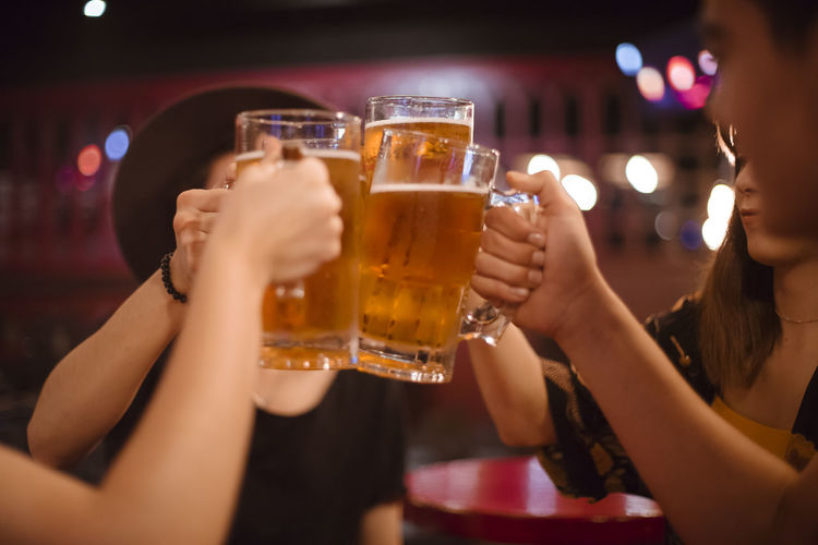 Beer fun Adult Alcohol Bar - Drink Establishment Beer Beer - Alcohol Beer Glass Celebration Celebratory Toast Drink Drinking Drinking Glass Food And Drink Friendship Glass Group Of People Hand Happy Hour Holding Human Arm Human Body Part Leisure Activity Nightlife Refreshment Smiling Analogue Sound