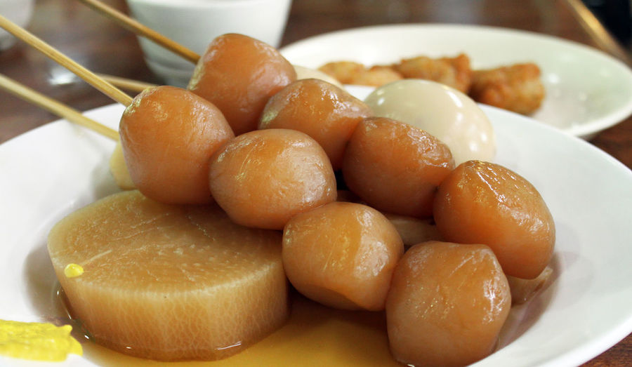 Close-up of oden in plate
