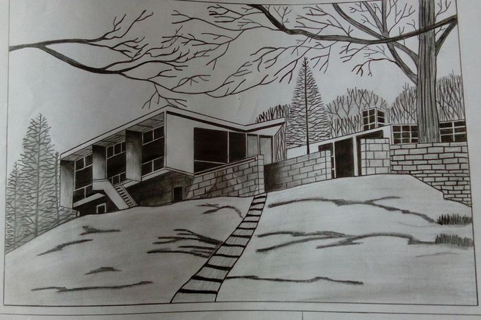 Project Homework A+ Happyand Proud Pencil Drawing My Drawing House The House On The Hill