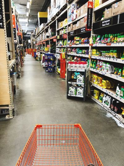 Inside Home Depot, popular home improvement store. Home Improvement Home Depot EyeEm Selects Arrangement Retail  Store Supermarket Large Group Of Objects Shopping Indoors  Abundance No People Shopping Cart Shelf Variation Choice Consumerism Communication Text Sign Day Aisle