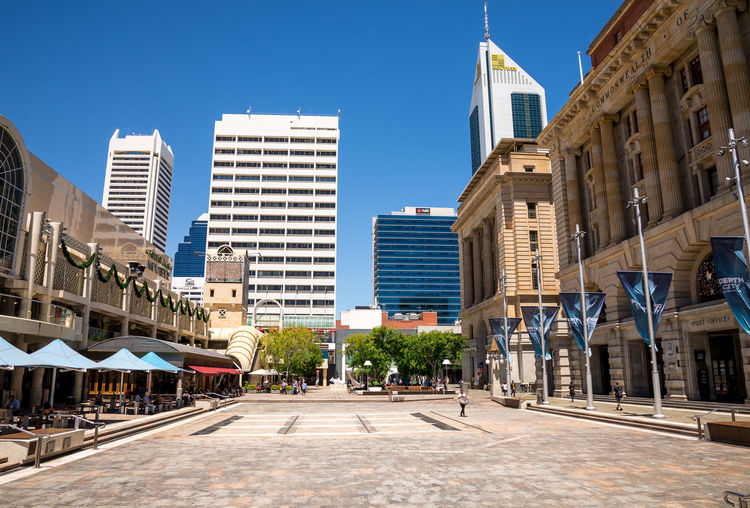 A view of Forrest Place Square and South32 tower in Perth City, Western Australia Australia CBD Center Central City Downtown Perth Place Shopping South32 Square Tourist Attraction  Building Exterior Forrest Location Main Mall Myer Pedestrian Shopping Mall Skyscraper Street Tower Visit Western