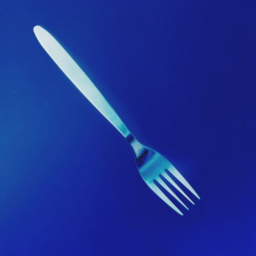 The Innovator Simulating the work of Anna Atkins using new technology. Shot and processed on iPhone 6. Fork in faux cyanotype. Blue Cyanotype Fork Utensils Close-up Artistic Technology Surreal Floating Mid-air Metal Stainless Steel  Shiny Still Life Silver  Household Objects Object Creativity Fine Art Photography