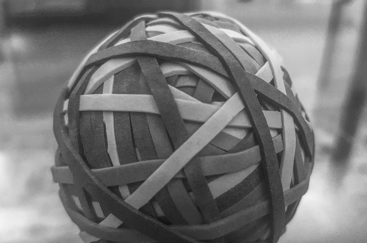 Black & White Blackandwhite Photography Close-up Day Elastic HDR Hdrphotography Macro Macro Photography No People Outdoors Rubber Ball Rubber Band