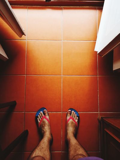 EyeEm Selects Low Section Standing Human Leg Leg Sitting Shoe Tile barefoot Personal Perspective High Angle View