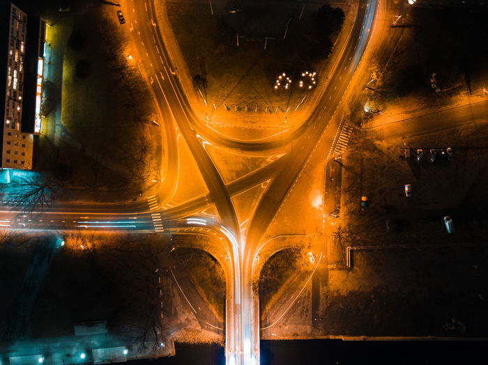 Aerial View Of Light Trails On Road In City At Night