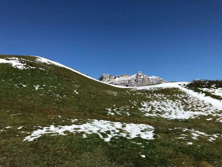 Dolomites, Italy Sky Beauty In Nature Snow Winter Cold Temperature Tranquility Nature Blue Scenics - Nature Plant Tranquil Scene No People Clear Sky Mountain White Color Non-urban Scene