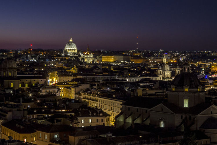 High angle view of illuminated buildings in  rome