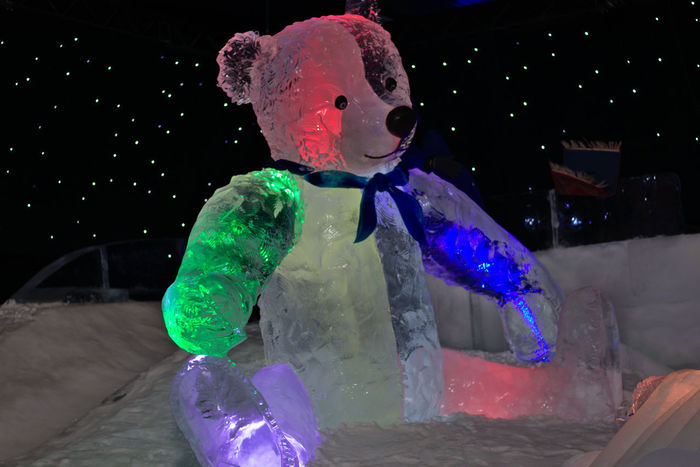 Ice museum at Karls Erlebnis-Dorf Elstal, Berlin Black Background Close-up Cold Temperature Ice Bear Ice Sculpture Playground Tedybear