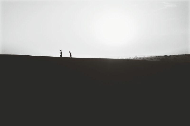 Silhouette people walking on desert against clear sky