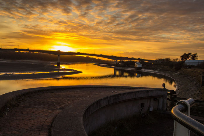 Sunset over the Taw Bridge Barnstaple Architecture Bridge Cloud - Sky Estuary Nature Outdoors River View Rivers Riverscape Sky Sunset Water