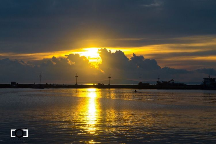 Paint The Town Yellow Sunset Water Sky Sea Cloud - Sky Scenics Reflection Nature Beauty In Nature Transportation Sun Tranquility Tranquil Scene Waterfront Mode Of Transport Outdoors No People Silhouette Horizon Over Water Hope Dusk Great Day Ahead