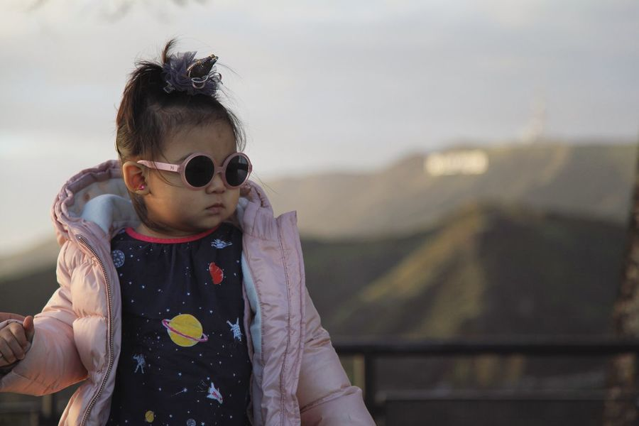 Sunglasses Real People Lifestyles Holding Childhood One Person Focus On Foreground Front View Outdoors Leisure Activity Day Sky Toddler  Toddlerlife Mountain Hollywood Sign California Dreamin