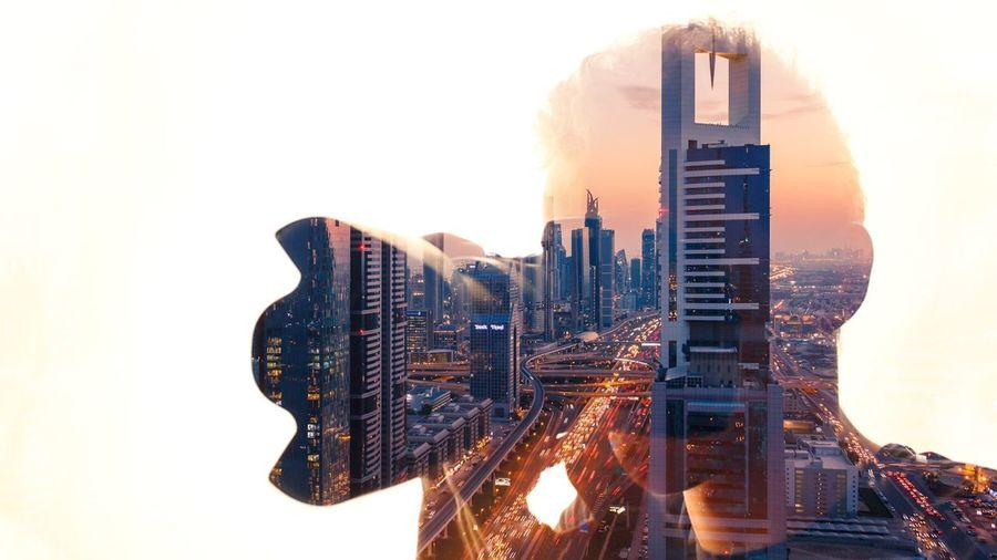 advanced selvie - double exposure with cityscape from dubai Office Building Exterior Building Cityscape Urban Skyline Tower Modern Low Angle View My Best Photo