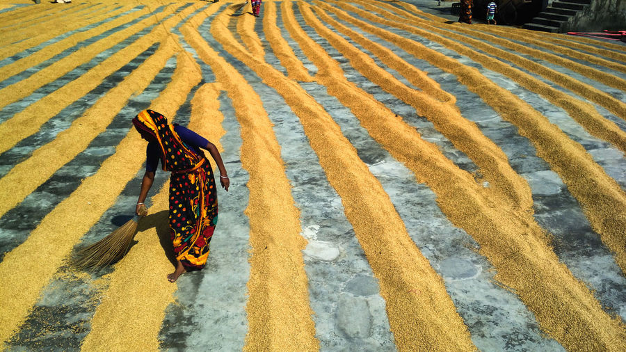High angle view of women sweeping on land
