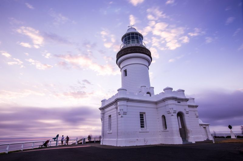 Byron Bay light house in the morning. My friends and I went to the Byron bay during Christmas break, waiting for sunrise at 4am. Unfortunately it was a bit cloudy that morning. Got this beautiful structure light house before we head down to the cafe. Tourism Low Angle View