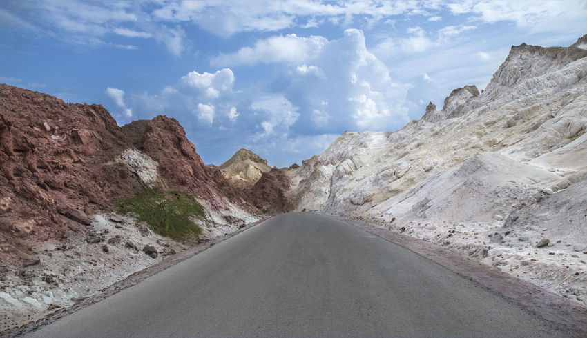 Hormoz Island Asphalt Beauty In Nature Cloud - Sky Day Hormuz Island Landscape Mountain Mountain Range Mountain Road Nature No People Outdoors Road Scenics Sky The Way Forward Tranquil Scene Tranquility Transportation