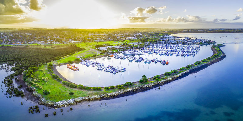 Aerial view of Westernport Marina with moored boats and Hastings coastline at beautiful sunset. Melbourne, Victoria, Australia Australia Australian Australian Landscape Drone  Panorama Panoramic Travel Adventure Aerial Aerial Landscape Aerial View Beauty In Nature Cloud - Sky Dawn Day Drone Photography Dronephotography Dusk High Angle View Lake Landscape Melbourne Nature Nautical Vessel No People Outdoors Scenics Sky Sunrise Sunset Tranquil Scene Tranquility Travel Destinations Travel Locations Tree Water Westernport