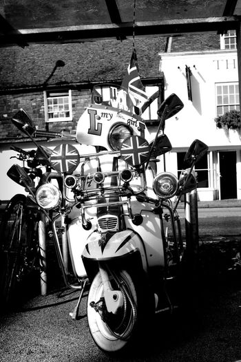 Never too many. Built Structure No People Outdoors Reflection Mode Of Transport Close-up Journey Transportation Photooftheday Vehicle Mirror Photography Black&white Monocrome Scooter Oldschool Rock'n'Roll Mods Scooters