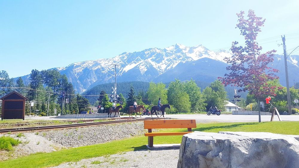 Pemberton Britishcolumbia Canada Mountain Snowcapped Mountain Cowboy Horses Horse Riding View Peaceful British Columbia, Canada Adapted To The City Summer Mountain Peaks Travel Destinations Clouds And Sky Relaxing Small Town Life New Beginnings