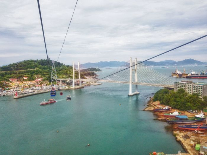 Splendid view of Yeosu citu, south korea. Splendid South Korea Yeosu Cable Car YeosuEXPO Yeosu Landscape Snapseed Samsungphotography GalaxyNote8 Grand City Water Cityscape Nautical Vessel Urban Skyline Sea Suspension Bridge Bridge - Man Made Structure Aerial View Tree