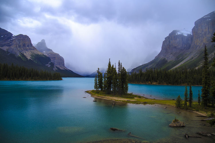 mystical Jasper Alberta Canada Cloud - Sky Icefields Parkway Jasper National Park Lake Landscape Maligne Lake Mountain Mystic Mystical Atmosphere National Park Outdoors Reflection Scenics Spirit Island Tree EyeEmNewHere