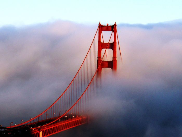 feel like heaven Architecture Bridge Bridge - Man Made Structure Built Structure California Dreaming Cloud - Sky Connection Day Engineering Feel Like Heaven Fog Gloaming Golden Gate Bridge Nature No People Outdoors Purple Sky Red San Francisco Sky Sunset Suspension Bridge Transportation USA Water Adapted To The City Miles Away