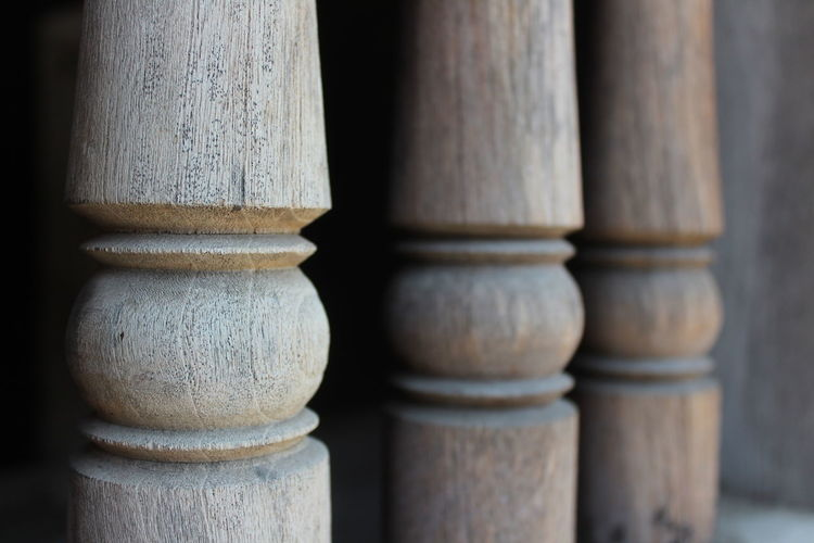 Close-up of bamboo stack on wood