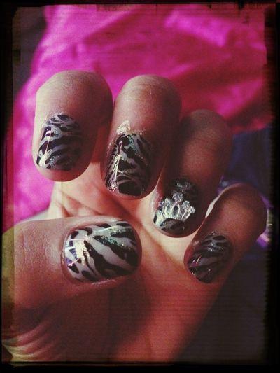 My stick on nails ? Nails Cute Stickon Fashion #jewels #zebra #design