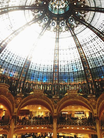 Coupole ... Architecture Built Structure Indoors  Ceiling Dome Low Angle View Travel Destinations Architectural Feature Travel City Day Coupole Galeries Lafayette Haussmann Shopping Mall Shop Paris France