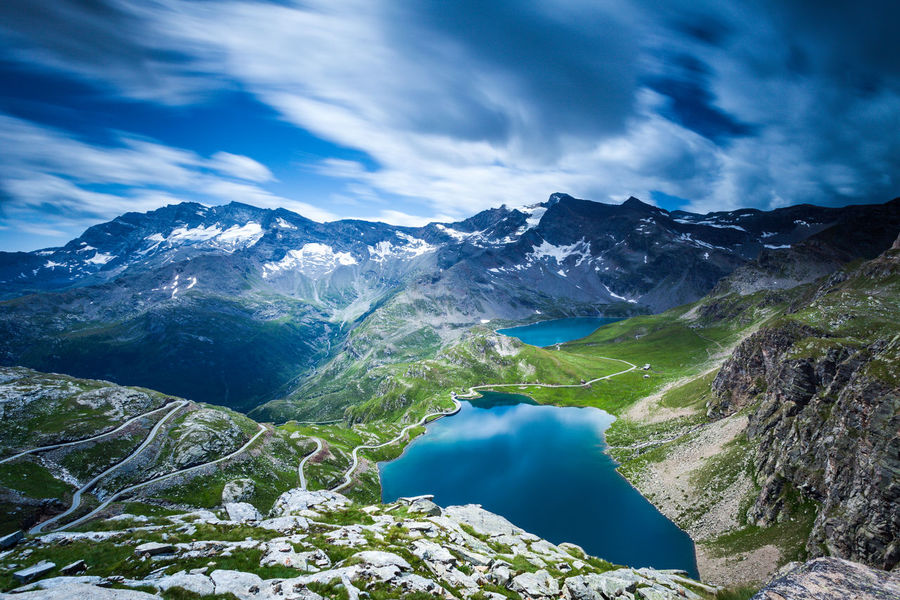 Viewpoint from colle del Nivolet, Gran Paradiso National Park, Italy. Field Gran Paradiso Nature Travel Trekking Alps Gran Paradiso National Park Italy Lakeside Landscape Mauntain Travel Destinations