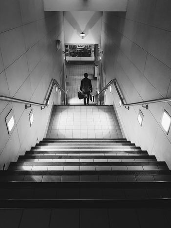 Steps Staircase Steps And Staircases Railing Built Structure People Indoors  Architecture Full Length Real People Train Station Public Transport Guitar Musician Brisbane Black And White Street Photography