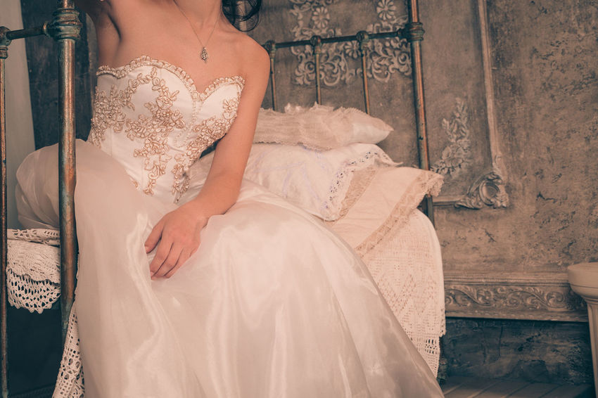 Bride Day Indoors  Life Events One Person People Real People Sitting Wedding Wedding Dress Women Young Adult Young Women