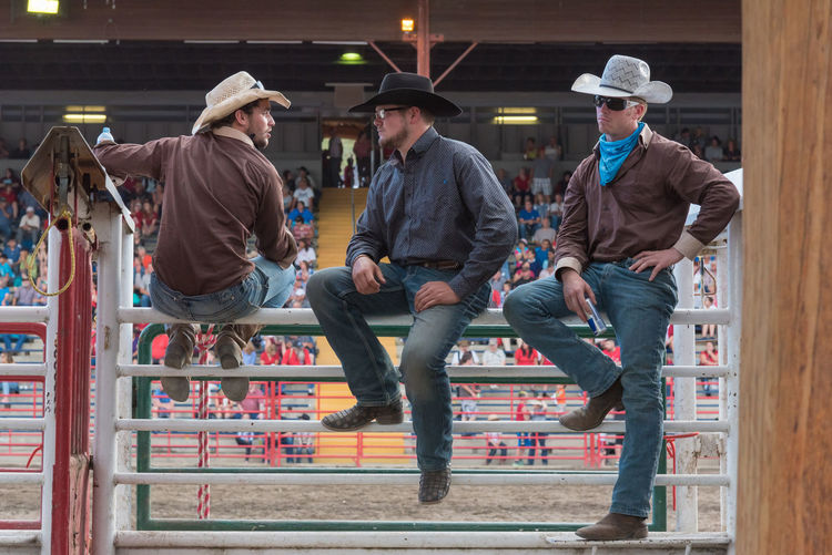Williams Lake, British Columbia/Canada - July 1, 2016: three cowboys sit on the chutes and watch the 90th Williams Lake Stampede, one of the largest stampedes in North America 90th Williams Lake Stampede Arena Behind The Scenes British Columbia, Canada Cariboo Chilcotin Cowboys Rodeo Spectators Travel Audience Candid Chutes Competition Competitors Cowboy Boots Cowboy Hats  Documentary Editorial  Group Men Sport Stampede Stampede Grounds Three Tourism