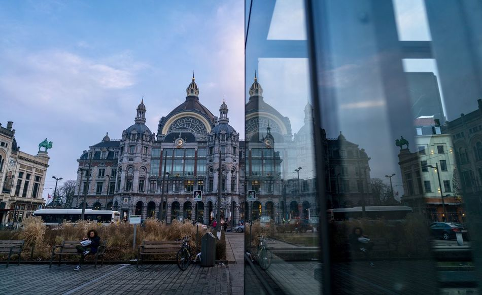 Leaning Belgium. Belgique. Belgie. Belgien. Etc. Belgique Antwerp, Belgium Antwerp Antwerpen Antwerpen Centraal Train Station Window Reflection Architecture Sky Cloud - Sky Built Structure Building Exterior Travel Destinations Dome Day Outdoors City Cityscape