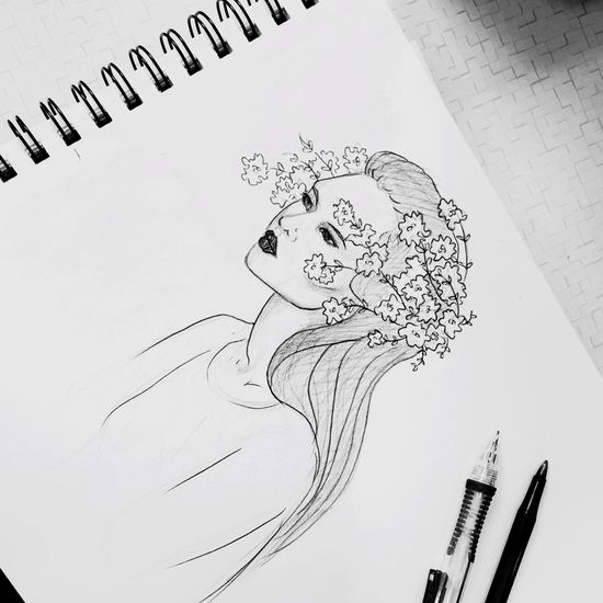 Doodling in between classes Draw Black And White Blackandwhite Girl Flowers Art ArtWork Artist Art By Me