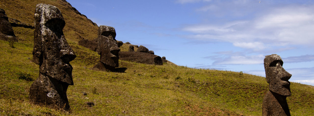 Chile Easter Island Isla De Pascua Rapa Nui Tourist Attraction  World Heritage Ancient Civilization Day History Landscape Lost Civilization Mystery No People Outdoors Rock Rock - Object Sculpture South America The Past Tranquil Scene Tranquility Travel Destination Travel Destinations