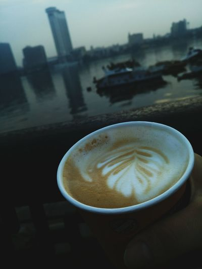 Drink Coffee - Drink Refreshment City Water Cappuccino Urban Skyline Freshness Day Mornings Winter Sky Cairo Egypt NileRiver Jobtime Shades Of Winter Interview 8.00 Am EyeEmNewHere