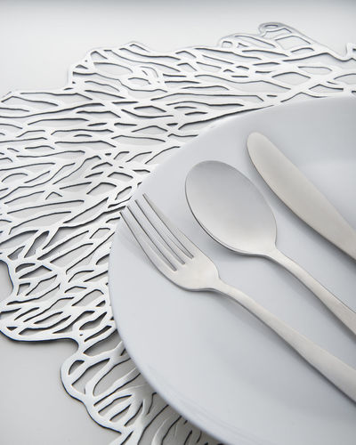 Cutlery Food Dinner Shiny Reflective Reflection Silver  Steel Metal Table Dining Home Curve Pattern