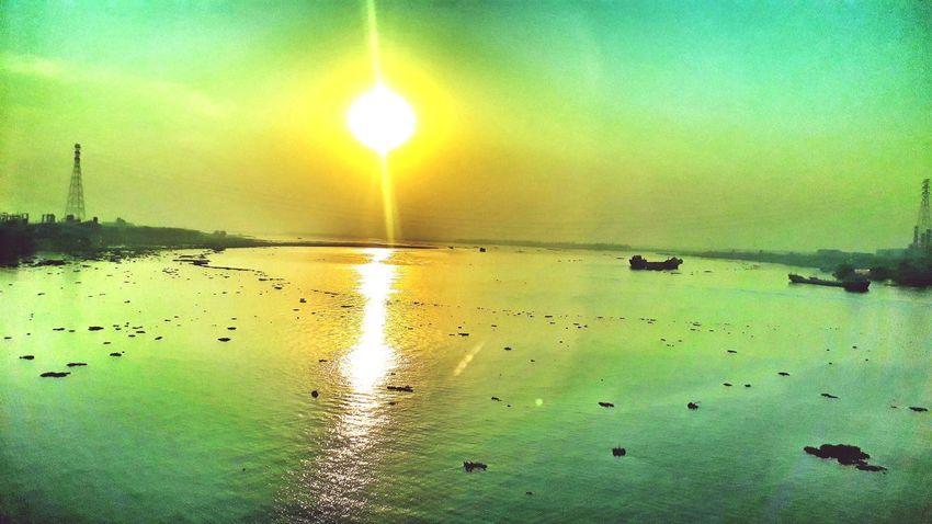 Meghna River..... Bangali A Nrob Photography Famuk EyeEm Selects Dhaka Eyeemphotography EyeEm Nature Lover EyeEm Gallery EyeEmBestPics EyeEm Best Shots Water Beauty In Nature Reflection Nature Sea Scenics Sun Sky Sunset Backgrounds Tranquility