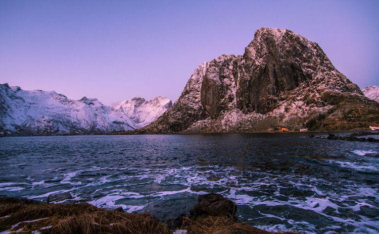 Lofoten Islands Norway Astronomy Beauty In Nature Blue Clear Sky Cold Temperature Day Galaxy Hamnøy Lake Landscape Lofoten Mountain Mountain Range Nature No People Outdoors Scenics Sky Snow Tranquil Scene Tranquility Water Winter Shades Of Winter An Eye For Travel The Great Outdoors - 2018 EyeEm Awards The Traveler - 2018 EyeEm Awards