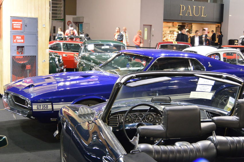 American Cars Blue Color Collector's Car Ford Mustang Ford Mustang GT350 Indoors  Muscle Cars Mustang Mustang GT350 Paris International Motor Show 2016