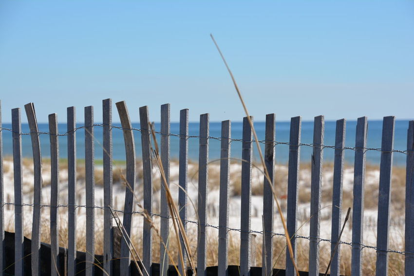 Beach side Abandoned Area Beach Blue Sky Connection Day Environmental Conservation Fence Gate Geometry Modern Narrow Ocean Outdoors Protection Railing Safety Security Symmetry The Way Forward Vertical Symmetry View Wood Wood - Material Wooden