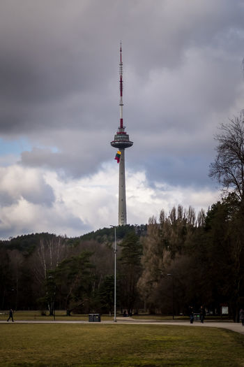 View of tower against cloudy sky